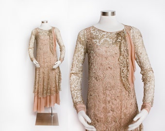 Vintage 1920s Dress - Champagne Lace Silk Chiffon Flapper Gown 20s - Small