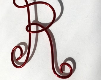 Letter R, Red wire, Christmas ornament,
