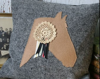 Horse Pillow Cover - Recycled Wool, Gray, Vintage Lace 14 Inch - FREE SHIPPING