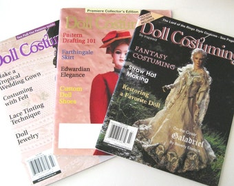 Doll Costuming Magazine, Pull Out Patterns, Pattern Drafting, Custom Doll Shoes and Socks, Fantasy Costuming, Choose One, 2001-2002