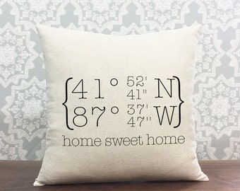 Personalized Coordinates Home Decor Pillow, Longitude & Latitude Custom Location Pillow, Housewarming Gift, Cotton Linen Pillow