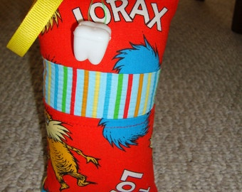 Tooth Fairy Pillow with tooth holder: Toothfairypillow, Plastic tooth holder, Red, Blue, Lorax, Tooth, Fairy, Children