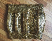 Gold Sequin Disco Dancing Queen Tube Top - Stretchy - Crop - 80s Retro - Party Holiday Festive New Years - L -XL