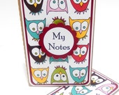 Mini Moleskine Journal with Matching Bookmark- Owls