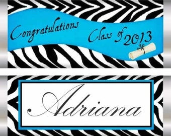 Zebra print Graduation Favors, Graduation Candy Bar Wrappers, Zebra Graduation Candy Bar, party favors, graduation party favors, Set of 20..