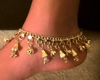 gold plated bell anklet