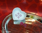 Valentine's Earing with Ceramic Ring Dish. Valentine's Day gift for her, Gift set