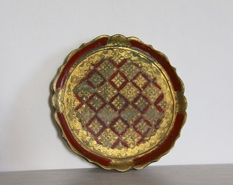 French Vintage Decorative Florentine Tray Shabby Chic, Cottage Chic Red and Gold