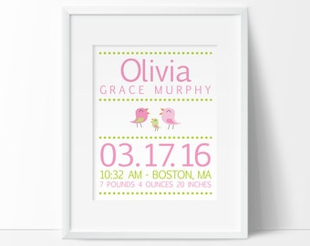 baby Birth Stats, Birth Announcement,Bird nursery, Newborn gift, baby girl nursery, Personalized baby gift, PRINTABLE, nursery wall art