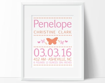 Butterfly nursery, personalized baby girl, birth announcement wall art, birth stats, PRINTABLE NURSERY ART, baby name art, art for children