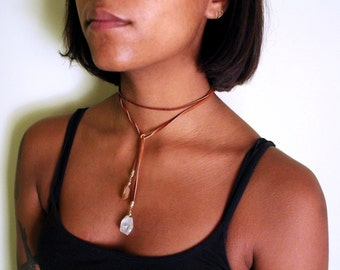 Deer Leather & Crystal Wrap Necklace (2 lengths / 2 Colors)