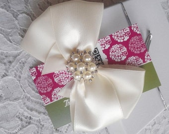 Ivory Satin Hair Bow with Rhinestone and Pearls Center, Ivory Flower Girl Hair Bow, Hair Bow, Pageant Hair Bows, Christmas Hair Bow