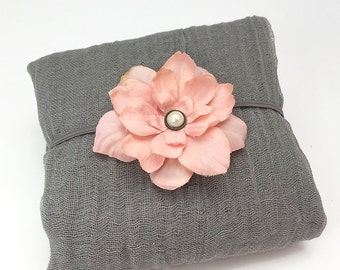 Gray Cheesecloth Wrap with Dusty Pink Headband - Newborn Posing Photo Prop, Baby Shower Gift
