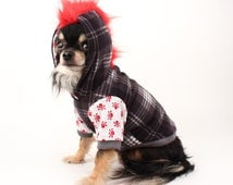 Dog clothes Red Mohawk Dog hoodie with black plaid and skulls