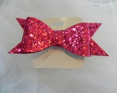 Shocking Pink Glitter Flat Classic Boutique Bow, Hair Bow, Hair Accessories, Girls, Toddlers, Babies, Photo, Hair Clip, Glitter, Christmas,