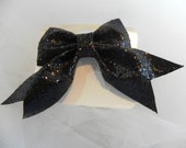 Black Glitter Flat Boutique Bow with Tails Hair Bow, Hair Accessories, Girls, Toddlers, Babies, Photo, Hair Clip, Glitter, Christmas,