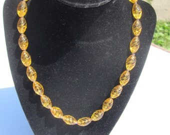 Vintage Amber Glass Swirl bead Necklace
