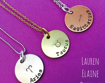 Zodiac Sign Necklace- Hand Stamped Charm- Aries Taurus Gemini Cancer Leo Virgo Libra Scorpio Sagittarius Capricorn Aquarius Pisces