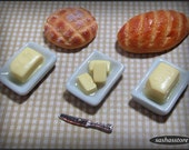 Plate with butter, dollhouse miniature, doll food 12th scale