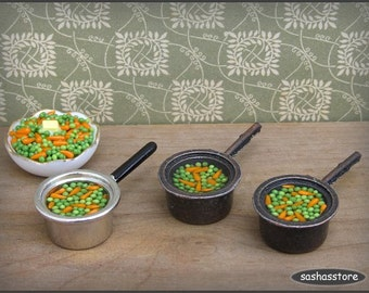 Dollhouse miniature pot with peas and carrots, 1:12 scale dollhouse food