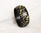 Wooden decoupage cuff with floral motif. Oriental black bagle bracelet. Leaves, nature, forest & elf theme.