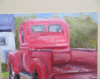 Original Painting / Modern Impressionist / Red Truck / 10 x 10