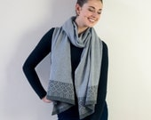 Seal and cliff knitted wrap / blanket scarf - made in Britain from lambswool