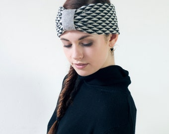 Monochrome triangle knitted headband - made in Britain from lambswool