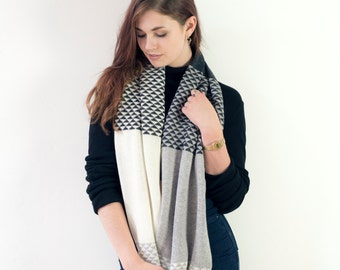 Knitted lambswool snood - circle scarf geometric triangle design, knitted in the UK in monochrome charcoal, grey and cream - 100% wool