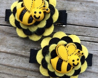 Bumblebee Yellow Black Wool Felt Flower Hair Clips Clippies Babies Toddlers Girls