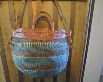 Vintage Sisal Market Bag - Kenya Tote - Ethnic Jute Tote - Boho Woven and Leather Tote Bag - Hippie Purse