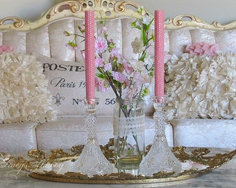 Gorgeous Vintage CRYSTAL/Glass CANDLE HOLDERS w/Roses, Shabby Chic, Victorian