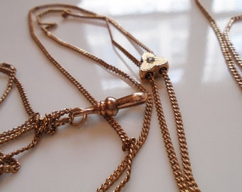 Victorian Watch Chain Gold Fill, 9K Gold Slide Paste Diamond Pocket Watchchain 1880s Hallmark