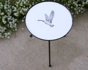 Rustic Decor: Canada Goose Table, Wrought Iron Side Table, Outdoor Furniture