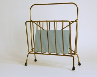 Metal Napkin Holder, Wire Mail Sorter, Mid Century Gold Desk Accessory
