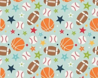 STORE CLOSING Sale Riley Blake Play Ball 2 FLANNEL Aqua Main 1 yard