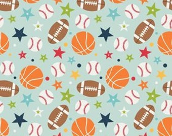 STORE CLOSING Sale Riley Blake Play Ball 2 Aqua Main 1 yard