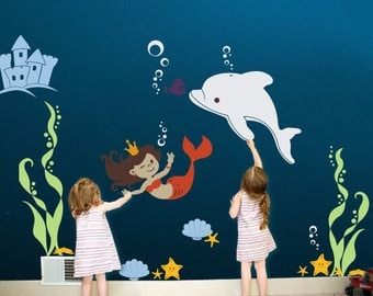 Mermaid Princess Under the Sea Wall Decal