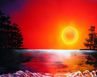 "Spray Paint Art Original Sunset Reflection Landscape Poster Painting 22"" x 14"""