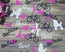Paris Ooh La La Eiffel Tower poodle Confetti girl Birthday Party Decor Party Bicycle Paris Scrapbooking