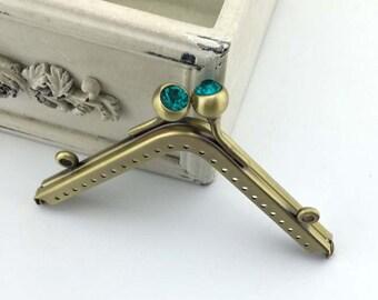 11cm(4.33inch) antique bronze purse frame metal bag frame A294-green