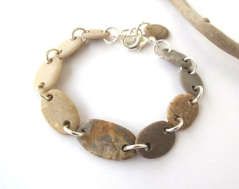 Beach Stone Bracelet Mediterranean Natural Stone Bracelet Pebble Bracelet Rock Bracelet River Stone Jewelry Gray Silver Eco Bracelet PETRA