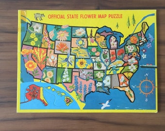 Vintage State Flower Map Puzzle, Built Rite Inlaid Cardboard Jigsaw Puzzles, Missing Alabama