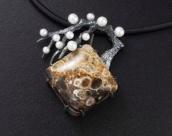 Japanese pendant necklace, Wabi Sabi pendant necklace, agate pearl oxidized silver pendant necklace of plum tree