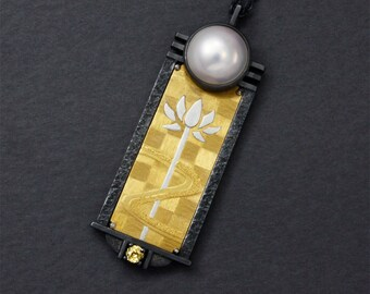Gold Keum Boo lotus pendant with a mabe pearl and zircon