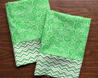 Green and White Swirly Pillow Case  Set Standard/queen green and white chevron cuff