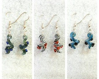 Glass Tentacle earrings Twisted