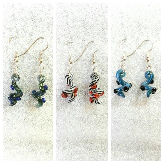 Glass Tentacle earrings Twisted