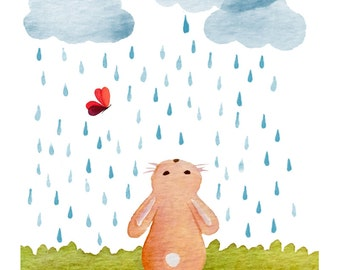 Bunny in the rain - 8x10 print