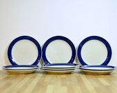 Midcentury Koka Blue Rorstrand Sweden Ceramic Bread and Butter Plates:  Set of Ten